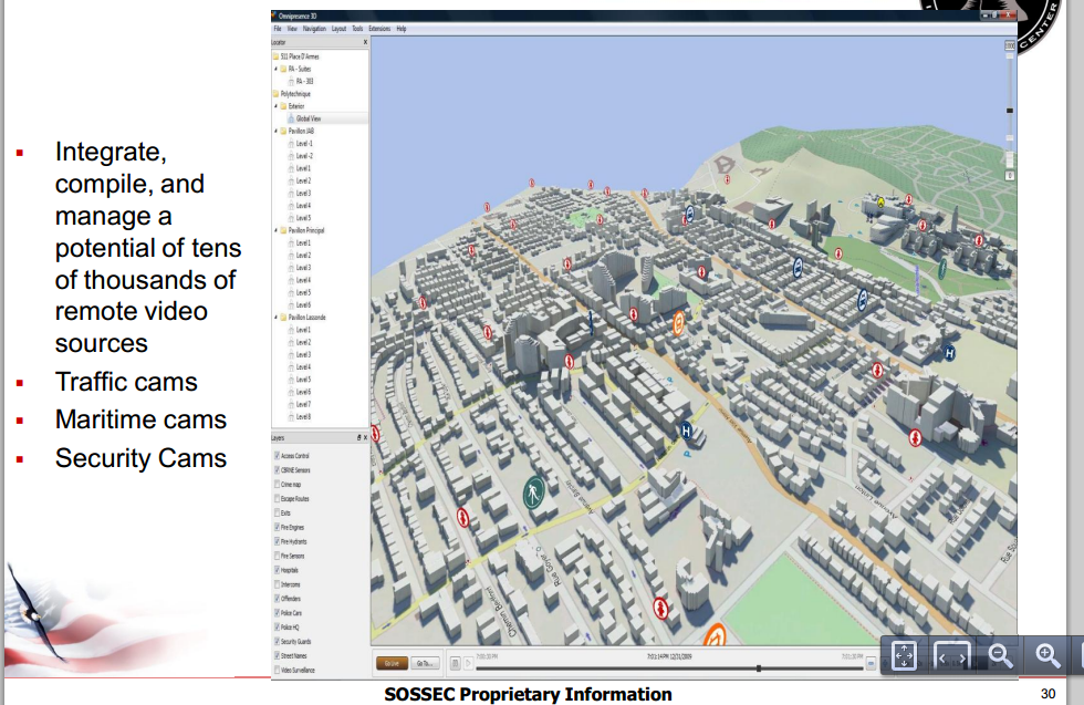 Example of video monitoring software platform in the DVIC Private Sector Briefing distributed by SOSSEC