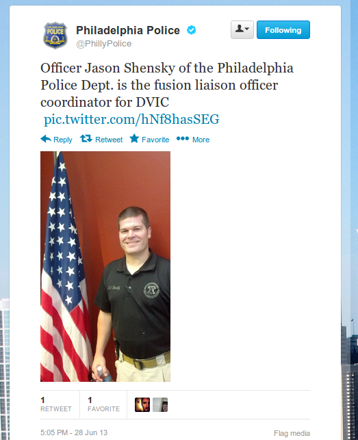 PPD Delaware Valley Fusion Center Liaison Jason Shensky