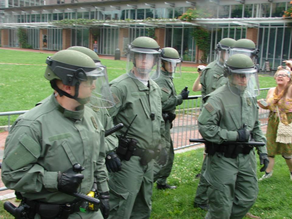 Those are Park Rangers in riot gear. Photo by Kenneth Lipp