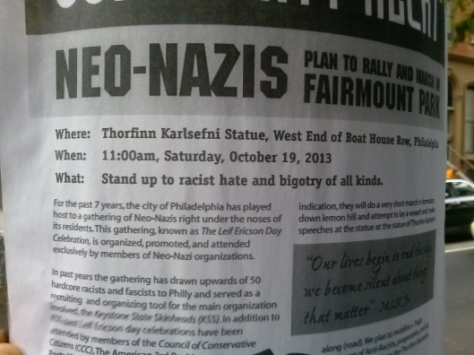 Flyer calling for a community response to what it says is a common rally for Neo-Nazis and other hate groups