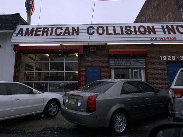 "South Philly's American Collision, which does work on police cars, is owned by an ex-con, sentenced to three years for turning another shop he owned into what prosecutors called a ""shop of fraud."" He's also under investigation for insurance fraud. Photo Credit: Philly Daily News - http://www.philly.com/philly/news/20131218_How_did_mob_figure_land_major_city_contract_.html#02vVg6i1C71dWivK.99"