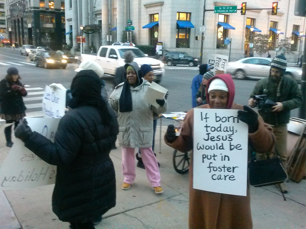 Vigil outside the Philadelphia Municipal Services building. Photo by Kenneth Lipp