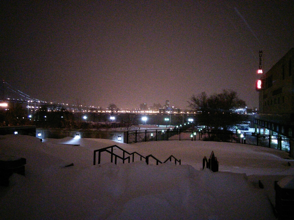 View of the Delaware River and lights of Camden from above Penn's Landing. Photo by Kenneth Lipp