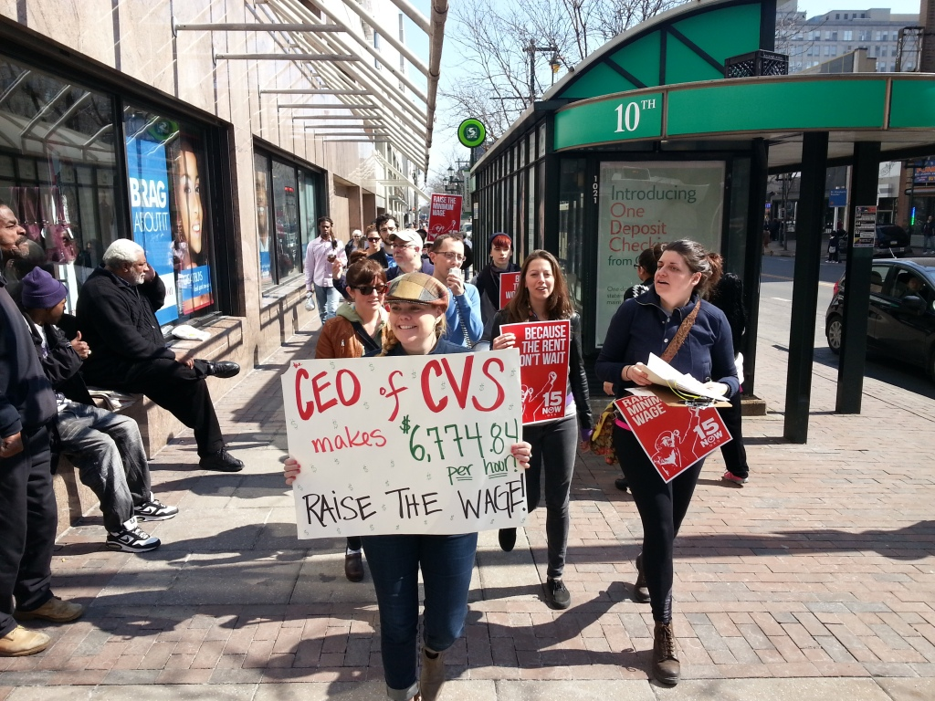 Activists march to a CVS in Center City Philadelphia. Photo: Dustin Slaughter