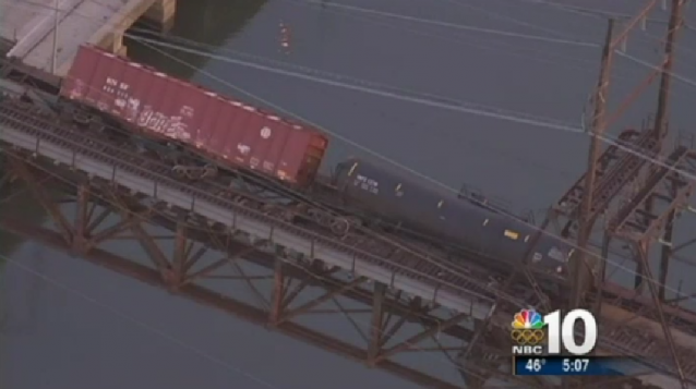 CSX train cars derail over the Schuylkill River, January 20th 2014. Photo: NBC Philadelphia