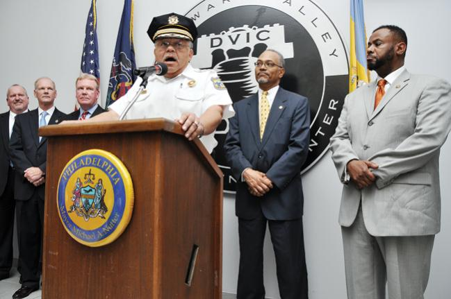 Philadelphia Police Commissioner Charles Ramsey (center) at DVIC press conference on the facility's opening day. Photo: Philadelphia Police Department