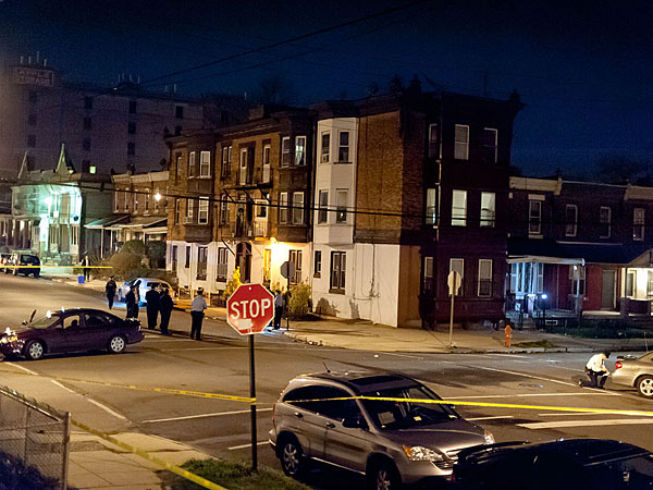 Scene of police involved shooting in West Philadelphia. Photo: Joe Kaczmarek