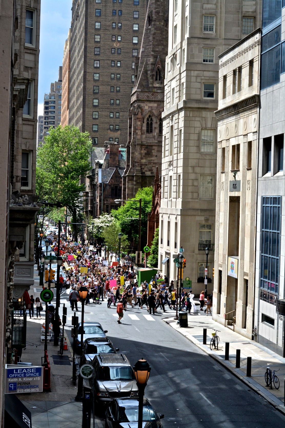 Protesters marching through the streets of Center City. Photo by Joshua Albert