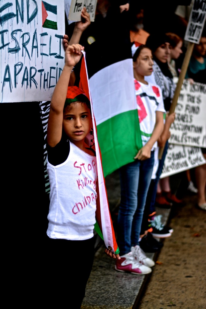 Nearly 100 protesters demonstrate in support of Gaza in LOVE Park. Photo: Joshua Albert