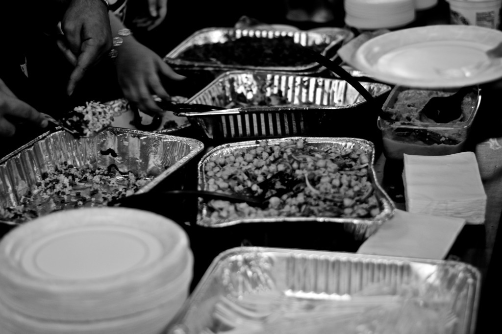 Halal dishes served for a community dinner preceding the fundraiser. Photo: Joshua Albert