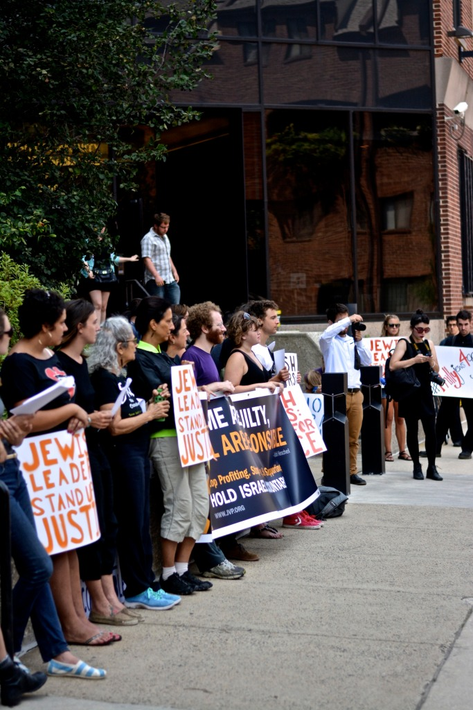 Protesters from Jewish Voices for Peace, among others, stand outside the Jewish Community Services Building. (Photo: Joshua Albert)