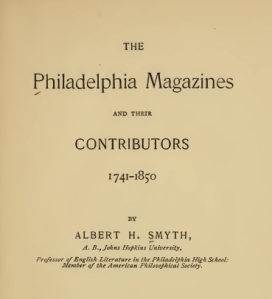 The title page of THE  Philadelphia Magazines AND THEIR CONTRIBUTORS 1741-1850. Work is in the public domain.