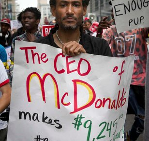 Fast-food-worker civil disobedience?