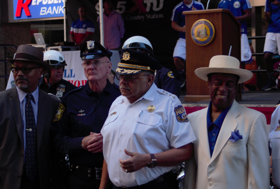Commissioner Charles Ramsey (center right) at the Heroes Thrill Show preview on Market Street. Photo: Kenneth Lipp