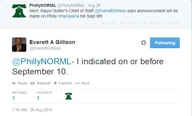 Twitter exchange between Philly NORML and Chief of Staff Everett Gillison on August 26th.