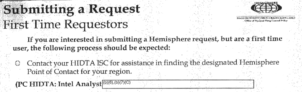 Hemisphere manual instructs first-time requesters to contact the Philly-Camden HIDTA intelligence analyst.