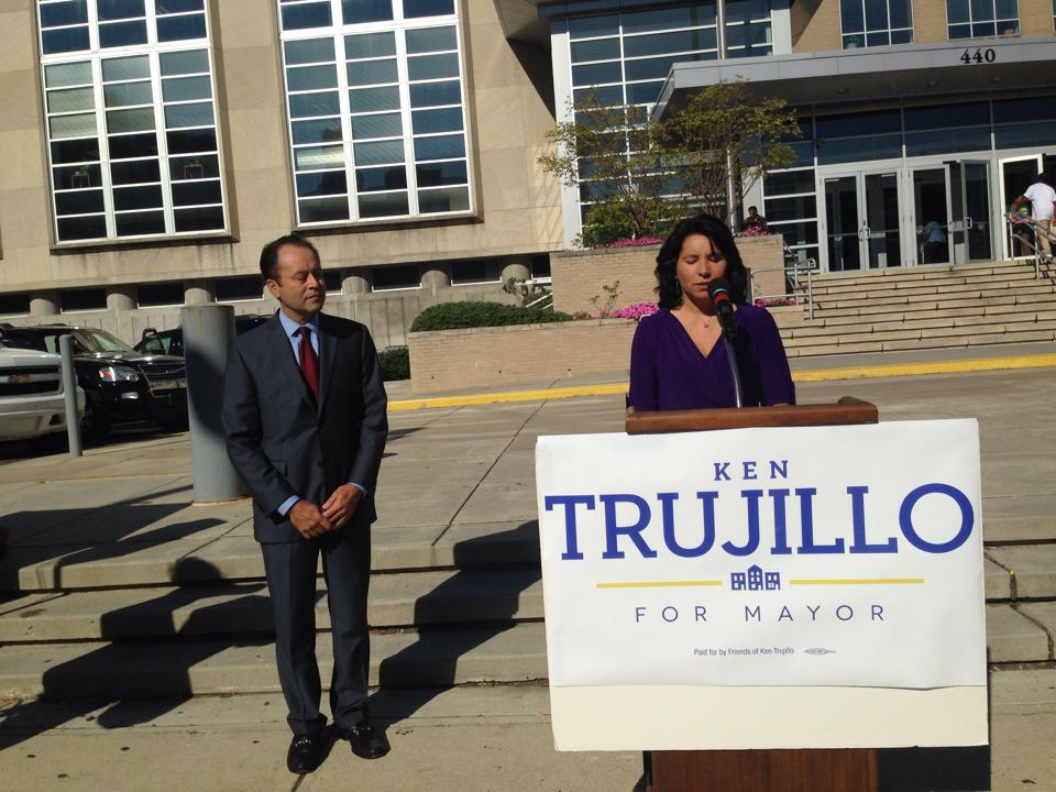 Ken Trujillo and wife Laura Luna Trujillo officially announcing candidacy at 440 N. Broad Wednesday morning. Photo: Christopher Norris