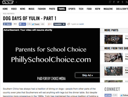 Pro-Charter School Group Lands Advertisement Spot in VICE Documentary on Eating Dogs