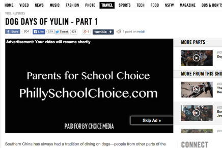 Pro-Charter School Group Lands Advertisement Spot in VICE Documentary on EatingDogs