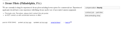Someone Is Hiring Drone Pilots in Philly onCraigslist