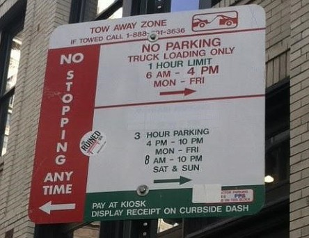 "Via the PPA, who explains: ""On the left side of the sign, you clearly see the words ""No Stopping Anytime,"" with an arrow pointing to the left. Sounds pretty self-explanatory, right? If you were to park your vehicle to the left of this sign at anytime, a ticket will be issued. So, avoid parking to the left of this sign."""