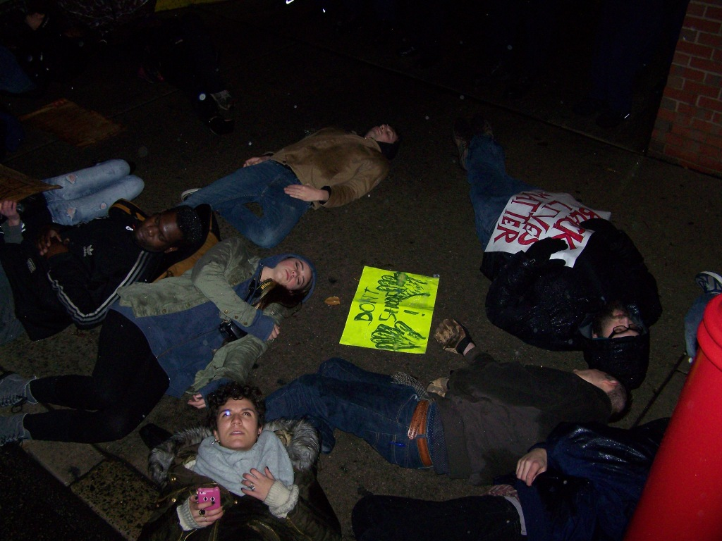 "Protesters ""die-in"" in front of the South Street police station on Saturday Night"