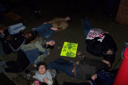 """Die-in"" At South Street Police Station Yesterday; Protest Planned Tonight After Eagles Game"