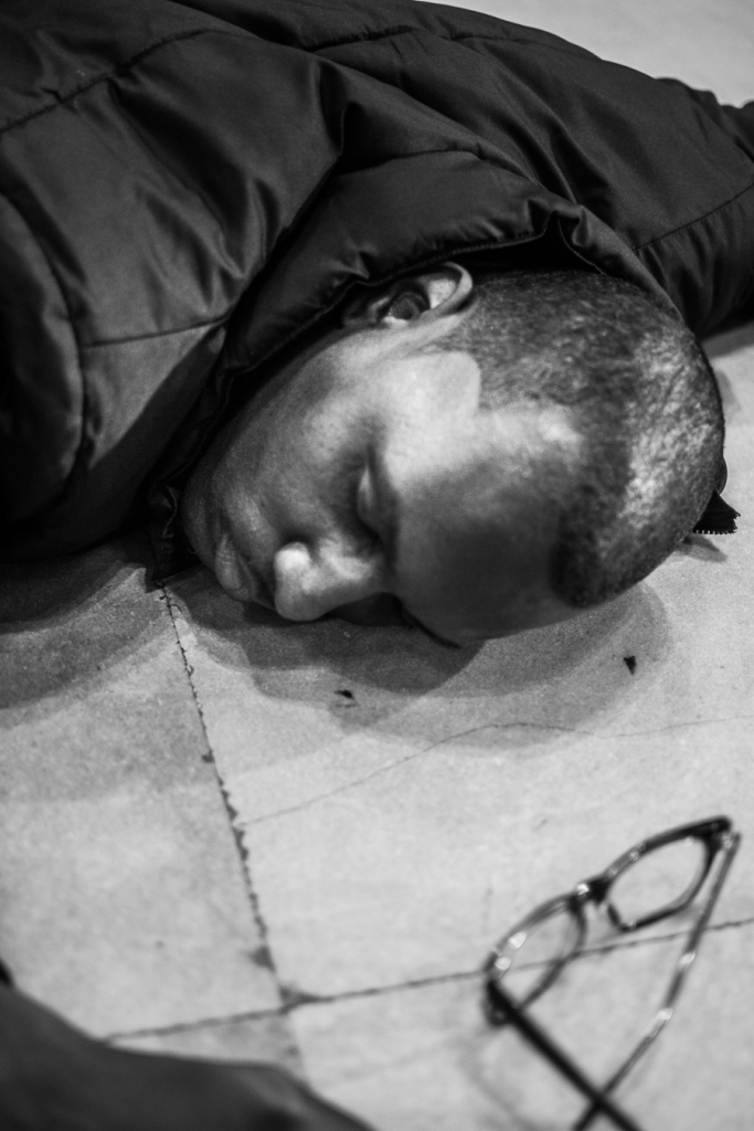 30th Street Station 'die-in' participant. Photo: Joshua Albert