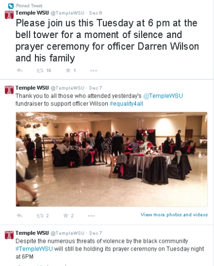 Temple White Student Union Events to Support Former P/O DarrenWilson