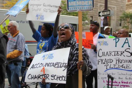 Protesters in October demanded greater oversight of charter schools, citing fraud, more. Photo: Joshua Albert