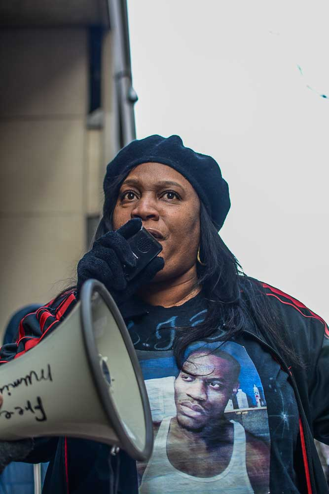 Mother of slain 26-year old Brandon Tate Brown, who was gunned down by Philadelphia Police in December, outside Holder roundtable. Photo: Joshua Albert