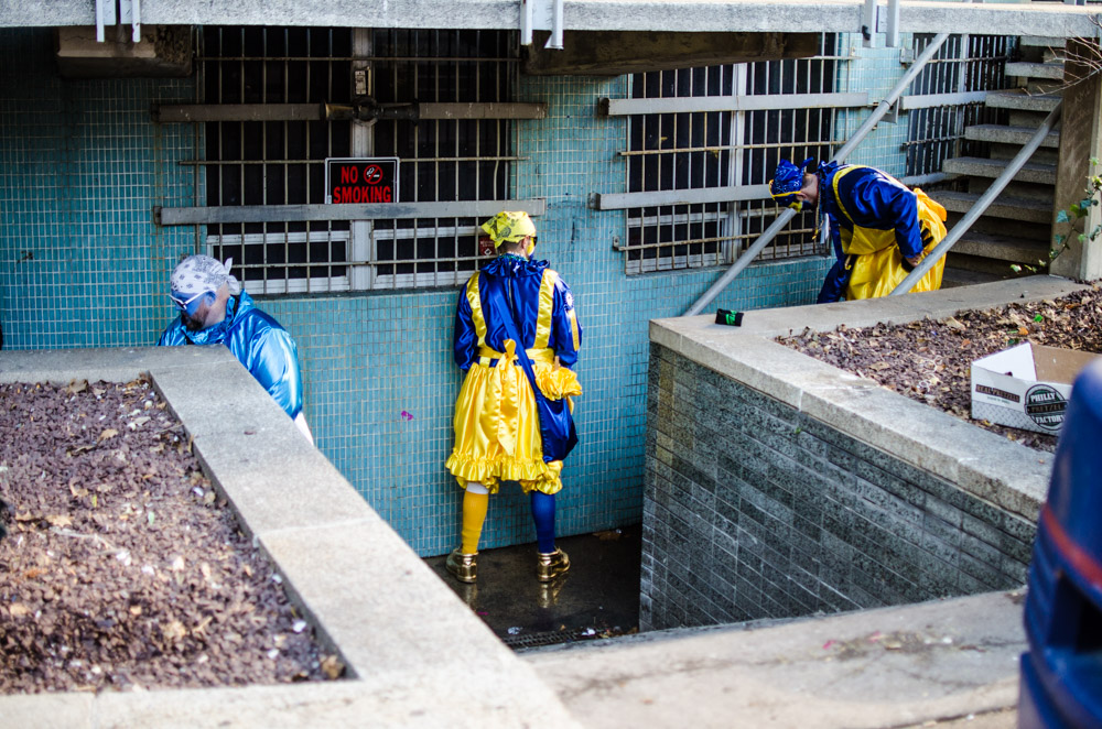 Participants of 2015 mummers parade urinate on building at love park. Photo by Joshua Scott Albert