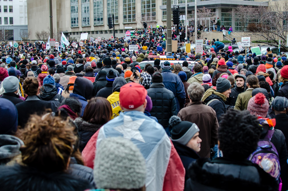 Thousands rally outside Philadelphia School District headquarters, before marching to Independence Mall, Jan. 19th, 2015. Photo: Joshua Albert