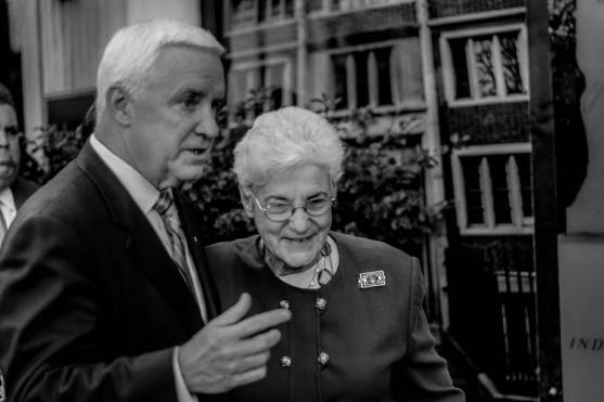 Former District Attorney and mayoral candidate Lynne Abraham with Governor Corbett at the Revictimization Relief Act signing in October 2014. Photo by Joshua ALbert