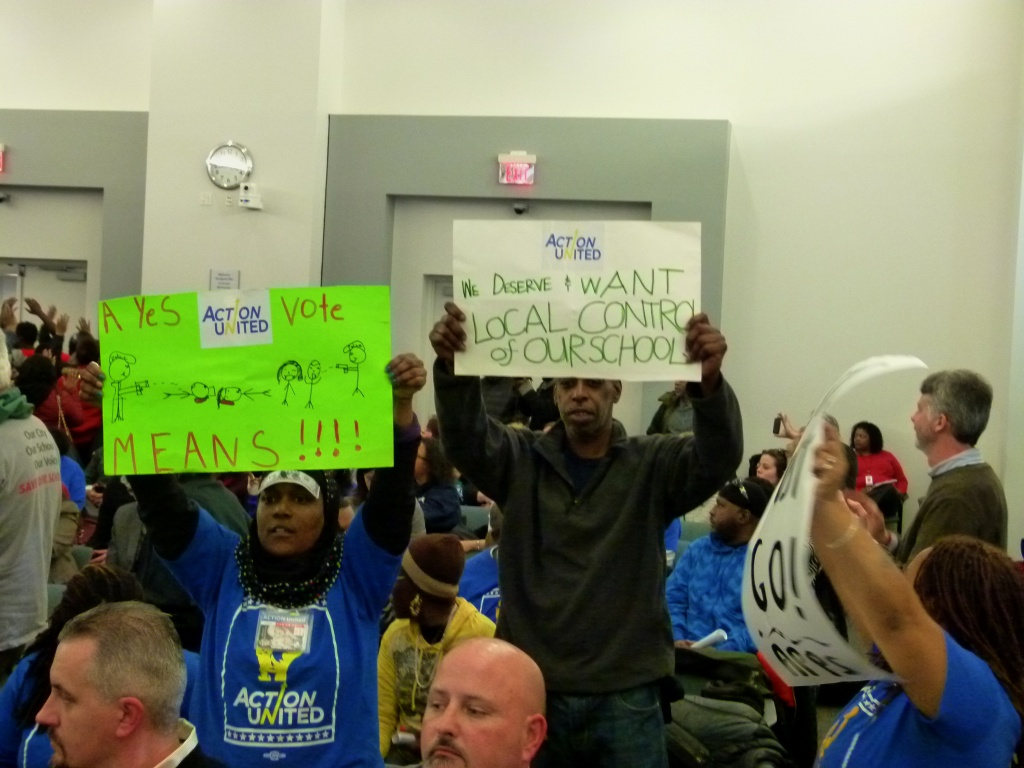 Public school advocates at the Wednesday afternoon School Reform Commission meeting. Photo by Joe Piette