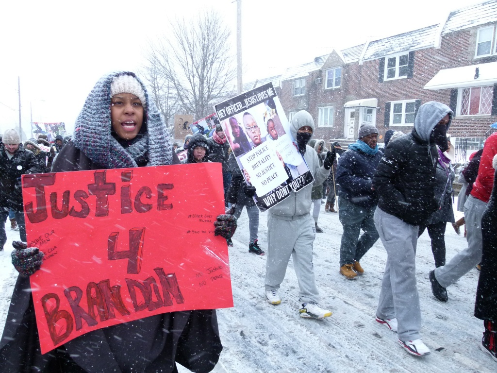Demonstrators marched through Mayfair towards 15th Precinct headquarters on Saturday, FEb. 22nd, 2015. Photo: Joe Piette