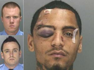 District Attorney's Office-provided photographs show Officers McKnight and Robinson, and Najee Rivera after his May 2013 encounter with the officers