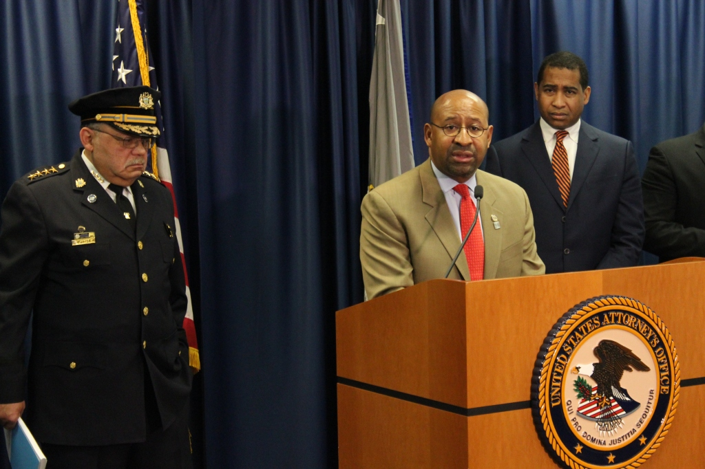 Mayor Nutter at yesterday's press conference releasing the COPS office report, with Commissioner Charles Ramsey on the left and US Attorney Zane Memenger on the right. Photo by Kenneth Lipp