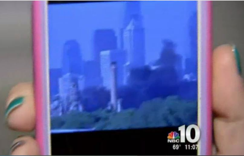 A South Philadelphia resident caught the latest PES refinery accident on her cell phone. Image: NBC 10 Philadelphia.