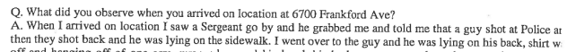 From pg. 22 out of 50 of Investigation Interview Records released by the City on June 9th, 2015.