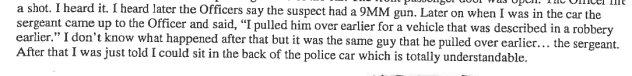 From pg. 4 out of 50 of Investigation Interview Records released by the City on June 9th, 2015.