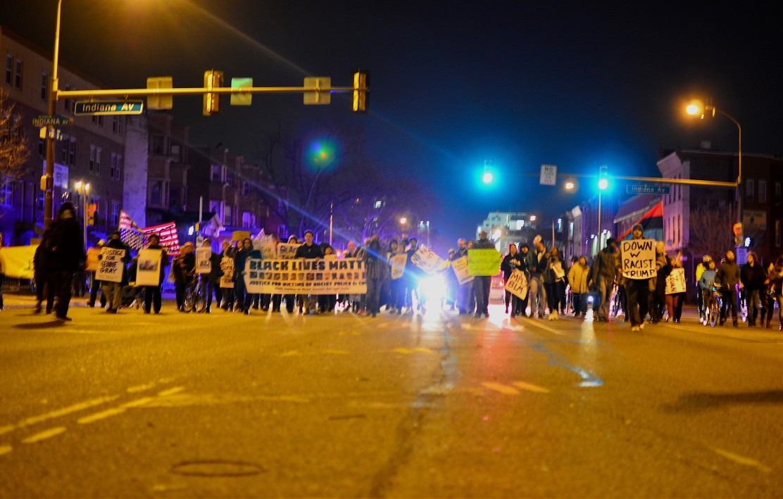 Black Lives Matter protesters march south down Broad Street Wednesday evening. Photo by Jack Grauer
