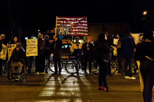 """Indict Amerikka"" sign at last night's #blacklivesmatter protest. Photo by Thomas Weir"