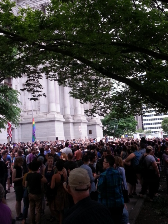 Thousands gathered at City Hall to speak and quietly mourn. Photo: Dustin Slaughter/The Declaration