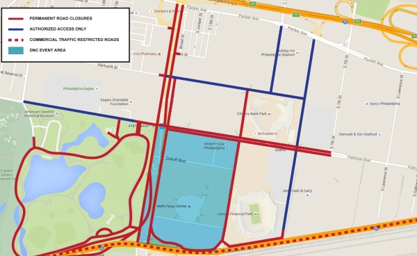 Map of road closures during the DNC. Courtesy of the United States Secret Service.