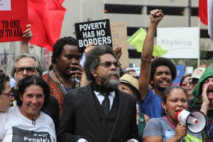Dr. Cornel West marches with Cheri Honkala (left) and the local Poor People's Campaign for Economic and Human Rights on Monday. Photo: Kristi Petrillo/The Declaration