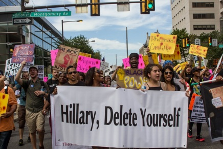 Tensions Flare Outside the DNC Tuesday