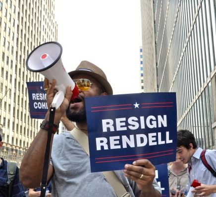 "In photos: ""Release the records! Reveal your donors!"" activists tell DNC Host Committee"