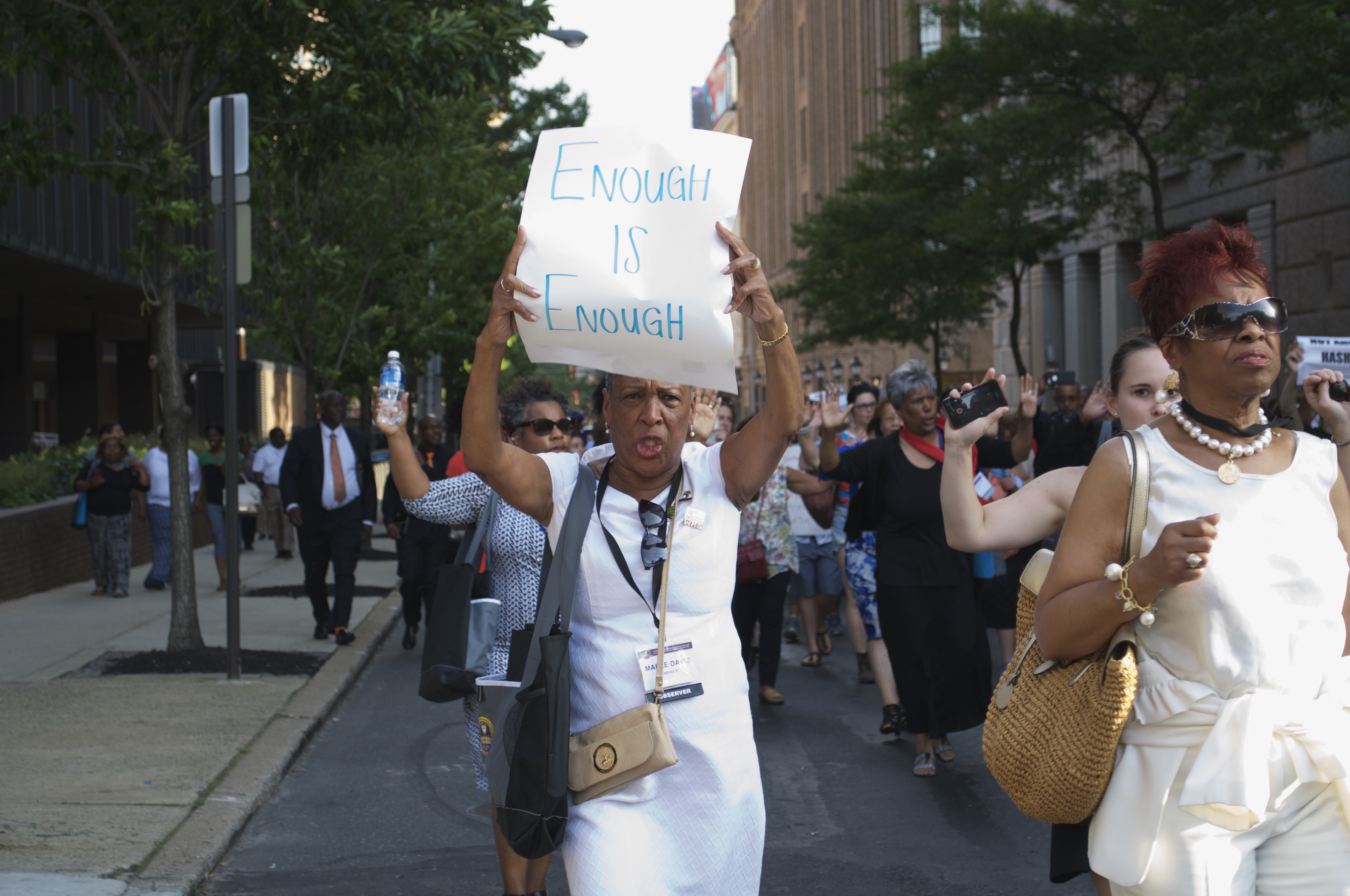 in photos faith leaders and more lead second day of protests in tanya brown dickerson third from center right the mother of the late brandon tate brown ed others through center city on thursday