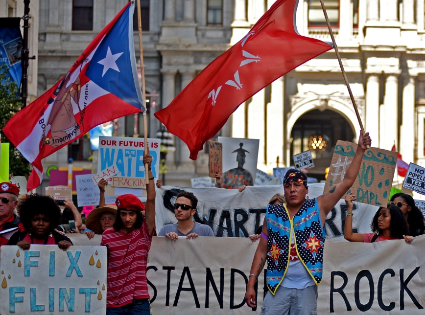 Water defenders march on Broad St. south of City Hall on September 19 during a national day of action against the DAPL. An estimated 400 people rallied and visited five TD Bank branches in Philadelphia's downtown. © Laura Evangelisto 2016.
